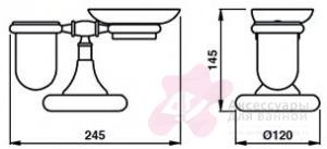 Стакан и мыльница Bagno&Associati Tempo  TM 773 на держателе настольные бронза