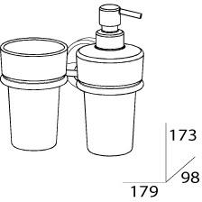 Стакан FBS Ellea  ELL 008 подвесной с дозатором мыла хром /хрусталь матовый