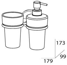 Стакан FBS Luxia  LUX 008 подвесной с дозатором мыла хром /хрусталь матовый
