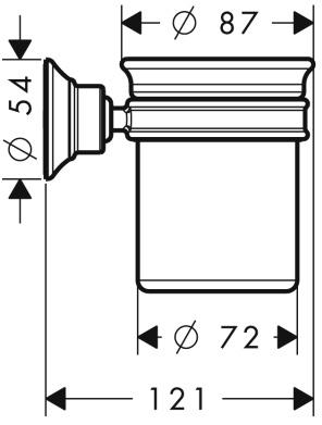 Стакан Hansgrohe Ax Montreux  42134000 подвесной хром / керамика белая