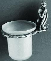 Держатель с колбой  Art&Max Juno  AM-0711-T для ершика настенный серебро