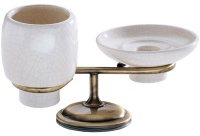 Cтакан и мыльница Carbonari Teresa Anticata  PATE ANT BR настольные античная бронза / керамика белая