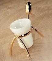 Стакан Etruska Retro  8556/55/CER настольный золото / керамика белая