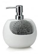 Подробнее о Дозатор Andrea House  CC63003 для кухни с отделением для губки керамика белая / хром