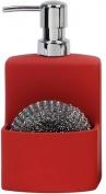 Подробнее о Дозатор Andrea House  CC63004 для кухни с отделением для губки керамика красная/хром