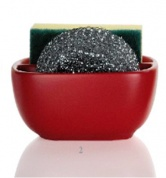 Подробнее о Контейнер Andrea House  CC63010 для мыла, губки керамика красная/хром