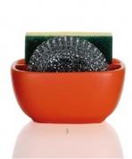 Подробнее о Контейнер Andrea House  CC63011 для мыла, губки керамика оранжевая/хром