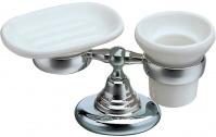 Подробнее о Стакан и мыльница Bagno&Associati Canova  CA 772 51 настольные хром / керамика белая