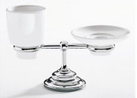 Подробнее о Cтакан и мыльница Carbonari Gamma  PAGA CR настольные хром / керамика белая