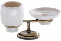 Подробнее о Cтакан и мыльница Carbonari Teresa Anticata  PATE ANT BR настольные античная бронза / керамика белая