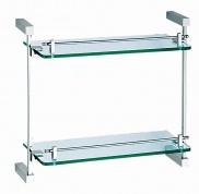 Подробнее о Полка Linisi Sigma  83552 стеклянная 39 х 35,5 cм двойная хром /стекло