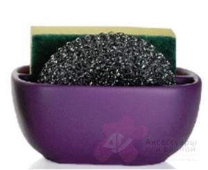 Контейнер Andrea House CC63013 для мыла, губки керамика фиолетовая/хром