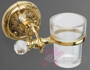 Стакан Art&Max Barocco Crystal AM-1787-Cr-C настенный хром / стекло матовое / Swarovski
