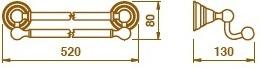 Полотенцедержатель Bagno&Associati Canova CA21651 двойной хром