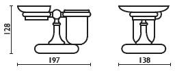 Стакан и мыльница Bagno&Associati Folie FS 77351 SW на держателе настольные хром / Swarovski