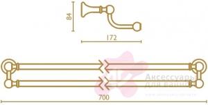 Полотенцедержатель Bagno&Associati Regency RE21751 двойной хром