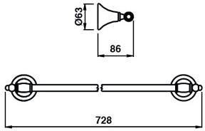 Полотенцедержатель Bagno&Associati Tempo TM 212 длина 70 см бронза