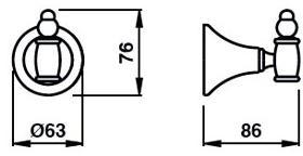 Крючок Bagno&Associati Tempo TM 241 одинарный бронза