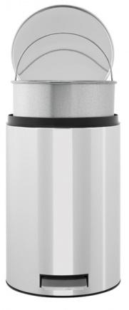 Ведро мусорное Brabantia 123405 с педалью (12 литров мет. ведром Brilliant Steel (сталь полированная