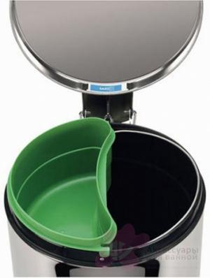 Ведро мусорное Brabantia 333408 с разделителем (20 литров Matt Black Fingerprint Proof (черный матовый с защитой от отпечатков пальцев