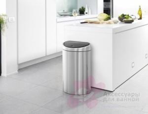 Ведро мусорное Brabantia 378683 Touch Bin (40 литров Matt Steel Fingerprint Proof (сталь матовая с защитой от отпечатков пальцев