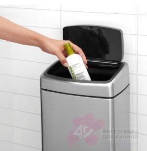 Ведро мусорное Brabantia 477225 Touch Bin прямоугольное (10 литров Matt Steel Fingerprint Proof (сталь матовая с защитой от отпечатков пальцев
