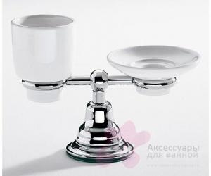 Cтакан и мыльница Carbonari Celeste PACE настольные хром / керамика белая