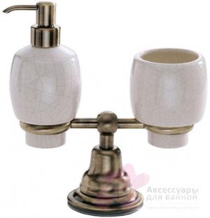 Стакан и дозатор Carbonari Celeste Anticata PACE2 ANT BR настольные античная бронза / керамика белая