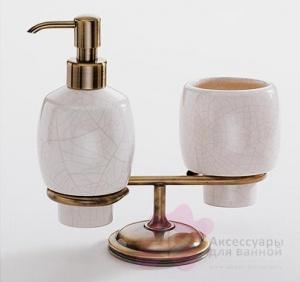 Стакан и дозатор Carbonari Teresa Anticata PATE2 ANT BR настольные античная бронза / керамика белая