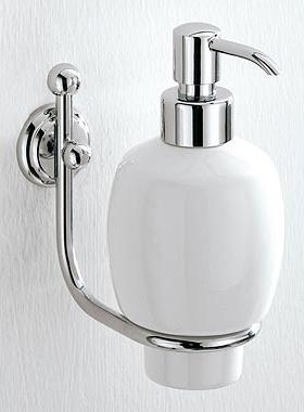 Дозатор для мыла Carbonari Teresa PSTE2 CR / ORO подвесной хром / золото / керамика белая