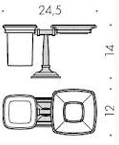 Мыльница со стаканом Colombo Portofino B3240 BR настольные бронза /стекло матовое