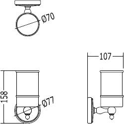 Стакан Devon&Devon Dorothy DOR403CR подвесной хром / керамика белая