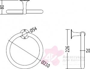 Полотенцедержатель Devon&Devon New York  NY107CR кольцо хром