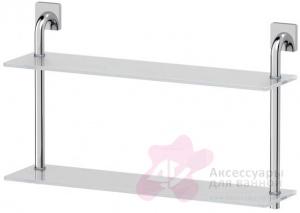 Полка Ellux Avantgarde AVA 037 стеклянная 60 х h37,9 cм 2-х ярусная хром / стекло
