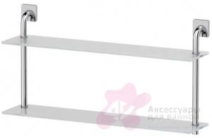 Полка Ellux Avantgarde AVA 038 стеклянная 70 х h37,9 cм 2-х ярусная хром / стекло