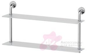Полка Ellux Elegance ELE 038 стеклянная 70 х h38 cм 2-х ярусная хром / стекло