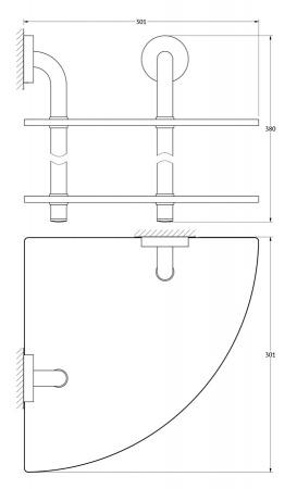 Полка Ellux Elegance ELE 053 угловая 30,1 х h38 cм 2-х ярусная хром / стекло
