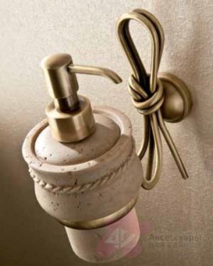 Дозатор мыла Etruska Nodo 1852/D/63/TRA подвесной бронза / травертино