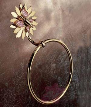 Полотенцедержатель Etruska Papillon 4765/55/RED кольцо золото/красный