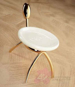 Мыльница Etruska Retro 8557/55/CER настольная золото / керамика белая