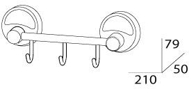Крючок FBS Ellea ELL 024 на планке (3 шт хром
