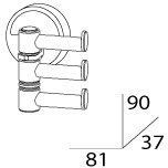 Полотенцедержатель FBS Ellea ELL 047 тройной поворотный длина 8,1 см цвет хром