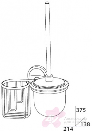 Ерш FBS Ellea ELL 058 для туалета подвесной с держателем освежителя воздуха (справа хром / хрусталь матовый