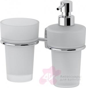 Стакан FBS Esperado ESP 008 подвесной с дозатором мыла хром /стекло матированное