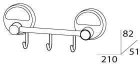 Крючок FBS Luxia LUX 024 на планке (3 шт хром