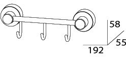 Крючок FBS Nostalgy  NOS 024 на планке (3 шт хром