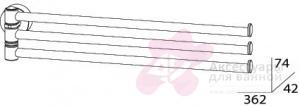 Полотенцедержатель FBS Nostalgy NOS 045 тройной поворотный длина 35 см цвет хром