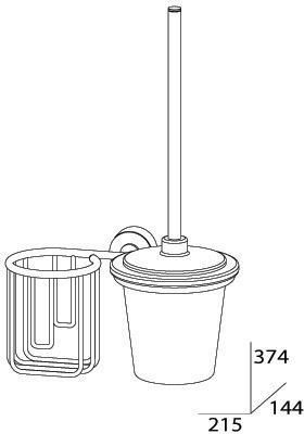 Ерш FBS Nostalgy NOS 058 для туалета подвесной с держателем освежителя воздуха (справа хром / стекло матированное