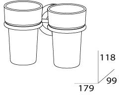 Стакан FBS Standard STA 007 подвесной двойной хром /хрусталь матовый
