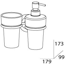 Стакан FBS Standard STA 008 подвесной с дозатором мыла хром /хрусталь матовый